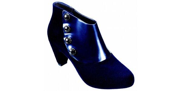 Dámske temno modré členkové topánky Melissa s kovovými cvokmi