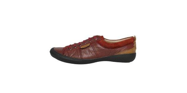 Dámske nízke bordóhnedé šnurovacie topánky Buggy