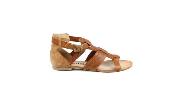 Dámske hnedé remienkové topánky z kože Cubanas Shoes