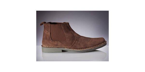 Pánske tmavo hnedé chelsea topánky Roamers