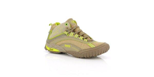 Dámske béžovo-neonové športové topánky Kimberfeel