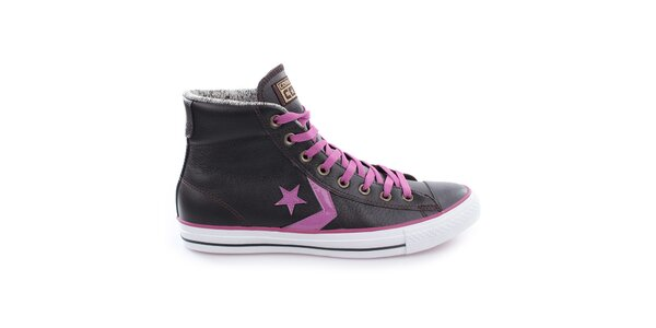 Tmavé členkové topánky s fialovými prvkami Converse