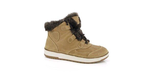 Dámske béžové topánky s kožúškom Kimberfeel