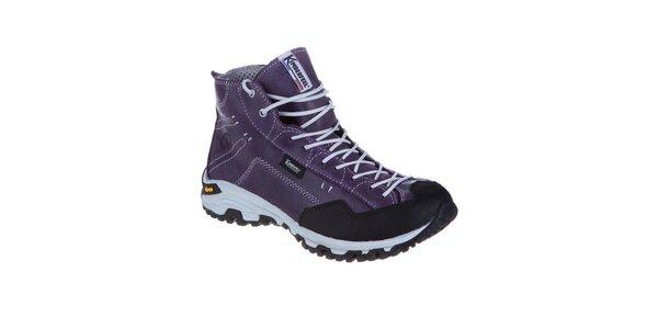 Dámske fialové členkové topánky so šnúrkami Kimberfeel