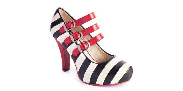 Dámske pruhované topánky s červenými remienkami Lola Ramona