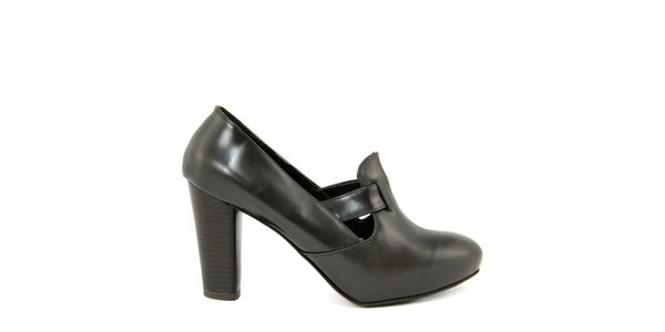 57bfd41c6b25 Dámske tmavo hnedé kožené topánky na vysokom opätku Paola Ferri