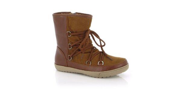 Dámske hnedé topánky so šnúrkami Kimberfeel