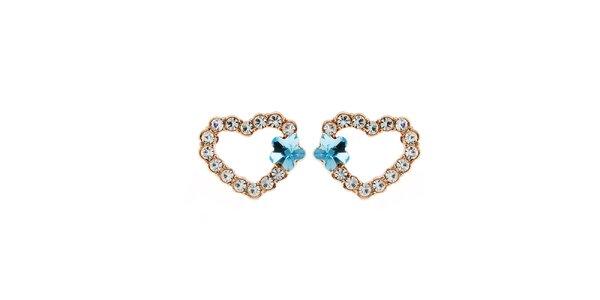 Dámske srdcové náušnice s kryštáľmi Fifi Ange