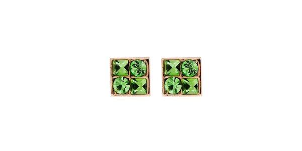 Dámske náušnice so zelenými kryštaľmi Fifi Ange