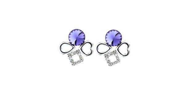 Dámske náušnice s fialovými kryštáľmi Fifi Ange