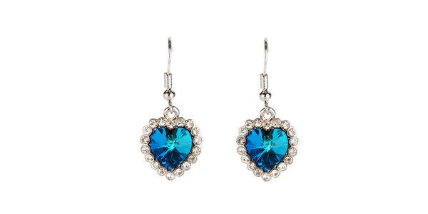 Dámske modré visiace náušnice s kryštálmi Fifi Ange