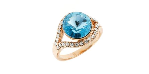 Dámsky prsteň v zlatom tóne s modrým guľatým kryštálom Fifi Ange