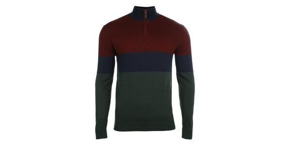 Pánsky farebne pruhovaný sveter so zipsom Pietro Filipi