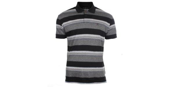 Pánske šedo-čierne pruhované polo tričko Pietro Filipi