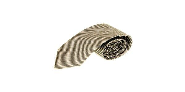 Pánska hnedá pruhovaná kravata Roberto Verino
