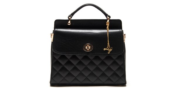 Dámska čierna kabelka s prešívaním Luisa Vannini