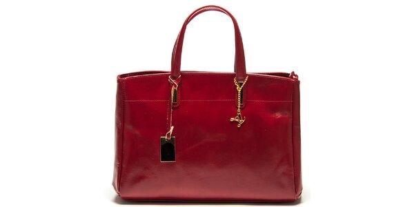 Dámska červená kožená kabelka s tromi oddeleniami Luisa Vannini
