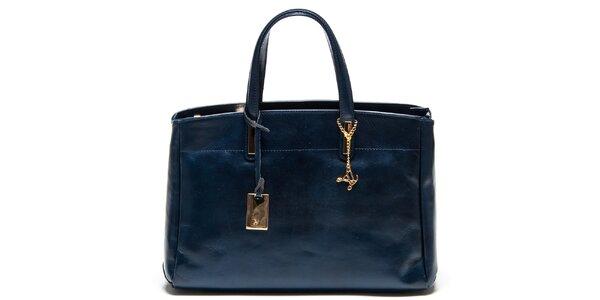 Dámska tmavomodrá kožená kabelka s tromi oddeleniami Luisa Vannini