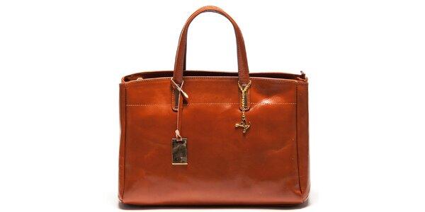Dámska koňakovo hnedá kožená kabelka s tromi oddeleniami Luisa Vannini