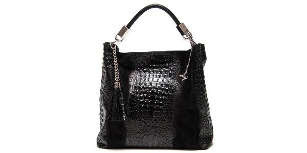 Dámska čierna kožená kabelka s motívom krokodílej kože Luisa Vannini