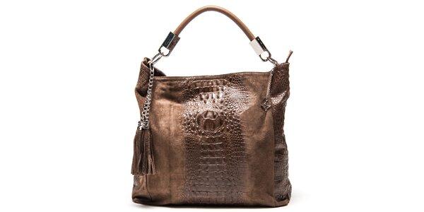 Dámska kožená kabelka s motívom krokodílej kože Luisa Vannini
