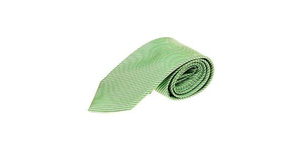 Pánska zelená pruhovaná kravata Roberto Verino.