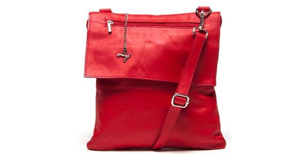 Dámska červená kožená kabelka s klopou Luisa Vannini