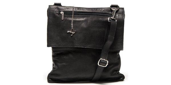 Dámska čierna kožená kabelka s klopou Luisa Vannini