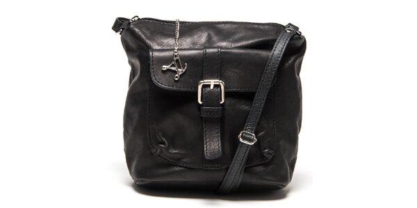 Dámska čierna kožená kabelka s vreckom Luisa Vannini