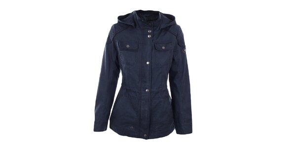 Dámska tmavo modrá bunda s kapucňou Halifax