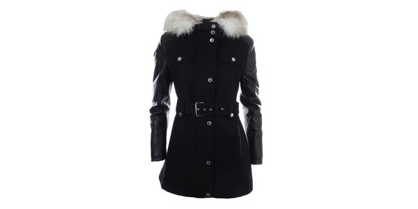 Dámsky čierny kabátik s kapucňou a kožúškom Halifax