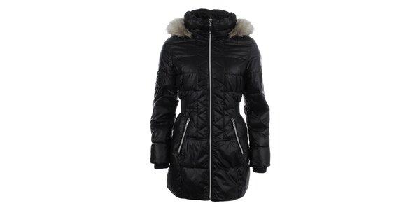 Dámsky čierny prešívaný kabát s kapucňou Halifax