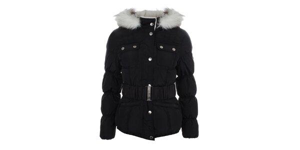 Dámska čierna bunda s prešívanými rukávmi Halifax