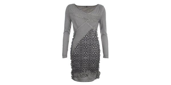 Dámske šedé šaty s ozdobným vzorom a perforovaním Angels Never Die