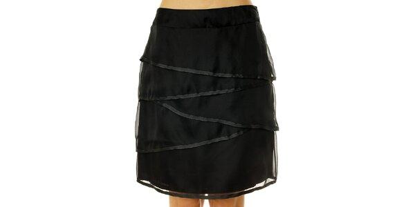 Dámska čierna hodvábna sukňa s lemovaním Roberto Verino