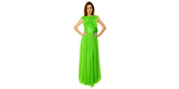 8c69c6b5f388 Dámske opulentné neonovo zelené dlhé šaty Roberto Verino