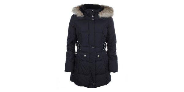 Dámsky modrý prešívaný kabát s kožušinkou Halifax