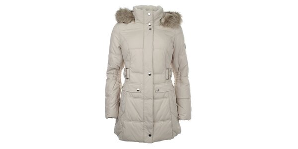 Dámsky smotanový prešívaný kabát s kožušinkou Halifax