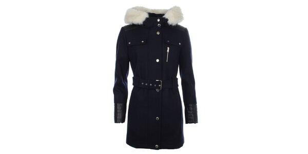 Dámsky modrý kabát s koženkovými rukávmi Halifax