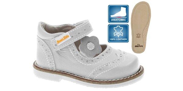 Detské šedo biele kožené topánočky Beppi