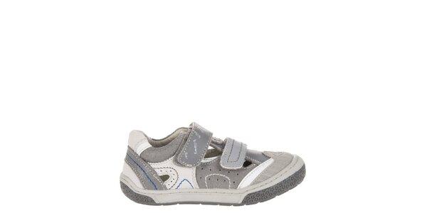 Detské tmavo šedé kožené topánočky Billowy