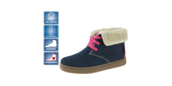 Detské tmavo modré semišové topánky Beppi