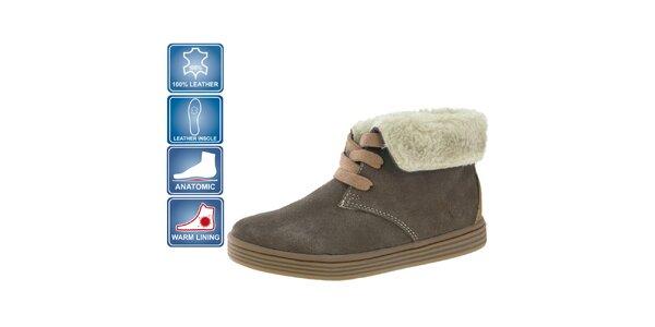 Detské hnedé semišové topánky Beppi