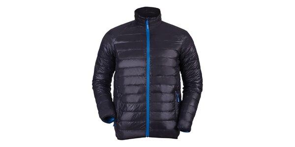 Pánska čierna bunda s modrými prvkami a prešívaním Furco