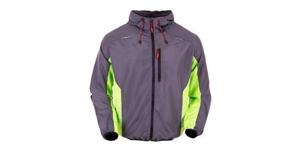 Šedá bežecká bunda so zelenými prvkami Furco