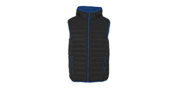 Pánska páperová vesta Furco - čierna s modrými prvkami