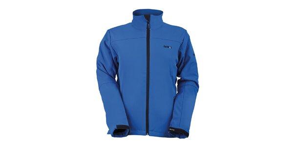 Dámska modrá softshellová bunda s golierom Furco