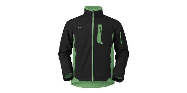 Pánska čierno-zelená softshellová bunda s kapucňou Furco