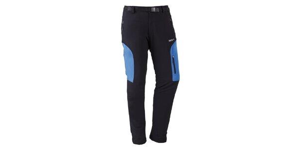 Pánske čierne outdoorové nohavice s modrými prvkami Furco