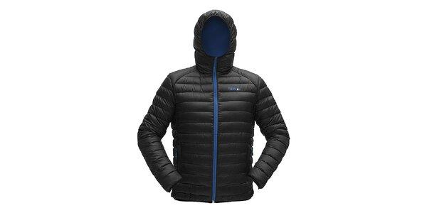 Pánska čierna prešívaná bunda s modrým zipsom Furco